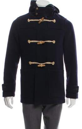 Burberry Virgin Wool Hooded Coat navy Virgin Wool Hooded Coat