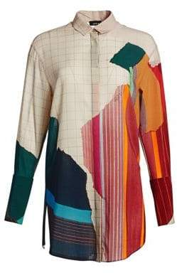 Akris Women's Multicolor Print Button-Down Shirt - Size 6
