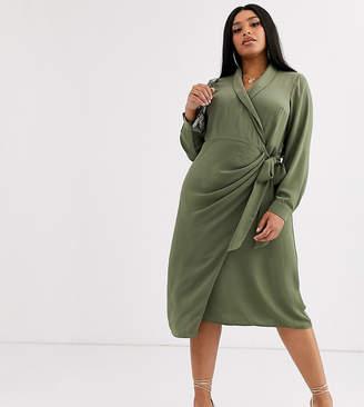 Asos DESIGN Curve collared wrap midi dress