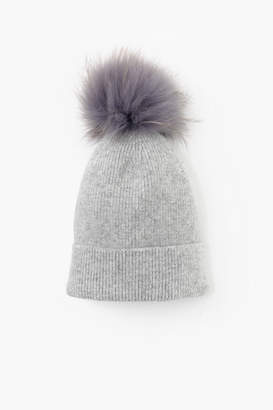 Look By M Light Grey Cashmere Blended Ribbed Knit Beanie