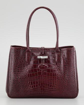 Longchamp Roseau Crocodile-Embossed Shoulder Bag, Purple