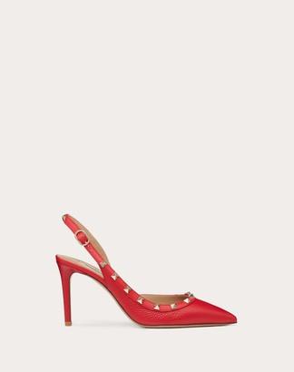 Valentino Garavani Rockstud Grainy Leather Slingback Pump 85mm Women Pure Red 100% Pelle Di Vitello - Bos Taurus 40.5