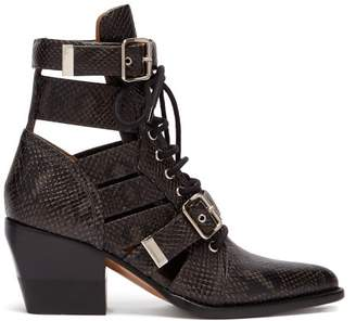 Chloé Rylee Cut Out Python Effect Leather Ankle Boots - Womens - Black