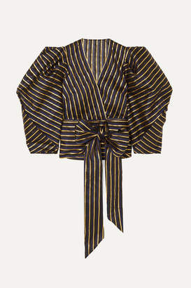 Alexandre Vauthier Metallic Striped Organza Wrap Top - Navy