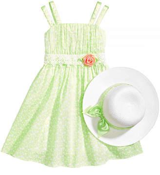Bonnie Jean 2-Pc. Dot-Print Dress & Hat Set, Little Girls