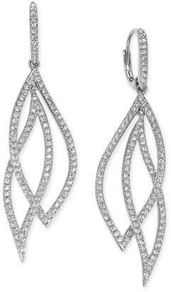 Eliot Danori Pave Crystal Leaf Earrings