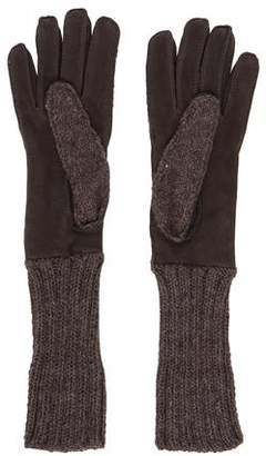 Neiman Marcus Knit Suede Gloves