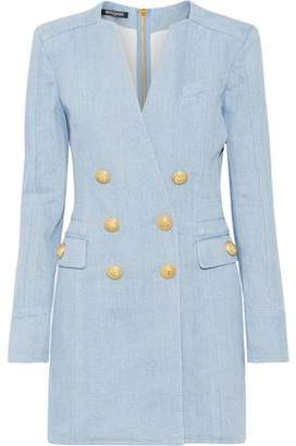 Balmain Double-Breasted Denim Mini Dress