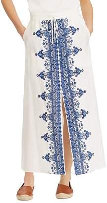 Lauren Ralph Lauren Embroidered Drawstring Maxi Skirt