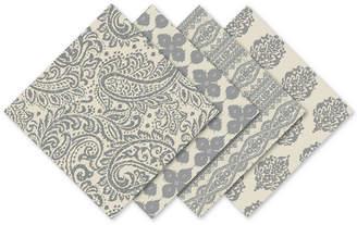 Elrene Assorted Gray Print Cotton Napkins, Set of 24