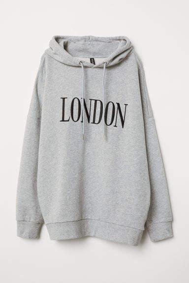 H&M - Cotton Hooded Sweatshirt - Gray