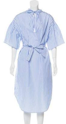 Tome Striped Short Sleeve Midi Dress