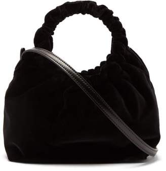 The Row Double Circle Small Velvet Bag - Womens - Black