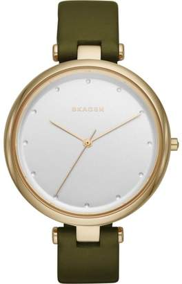 Skagen SKW2483 Gold Tone Stainless Steel & Olive Green Leather Silver Dial Quartz 38mm Women's Watch