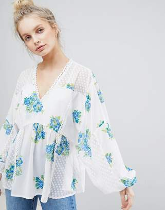 Asos DESIGN Floral Longline Blouse in Dobby Lace Mix
