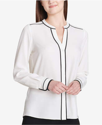 Calvin Klein Pipe-Trim Button-Down Blouse