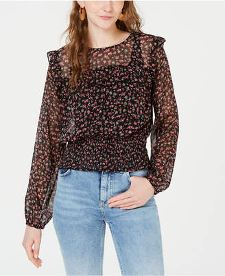 Love, Fire Printed Smocked Top