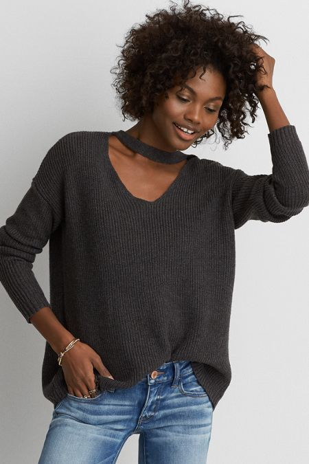 American Eagle Outfitters AE Choker Neck Sweater