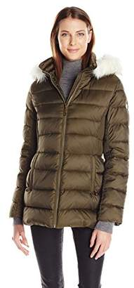 Halifax Traders Women's Mid-Length Puffer Coat with Faux Fur Hood