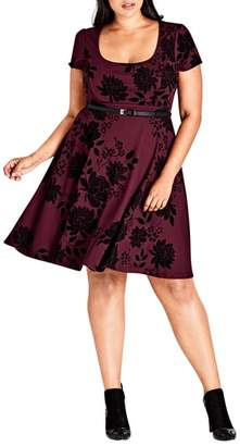 City Chic Belted Flock Floral Dress