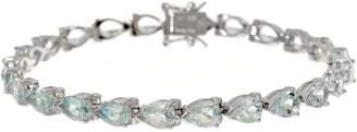 "Pear Cut Aquamarine Sterling Silver 8"" Tennis Bracelet"