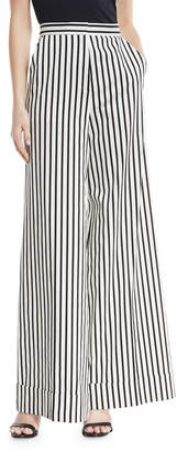 Self-Portrait Self Portrait Monochrome Wide-Leg Cotton Trousers