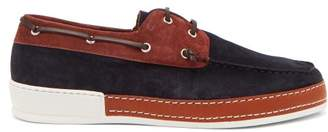 Etro Leather And Suede Deck Shoes - Mens - Navy