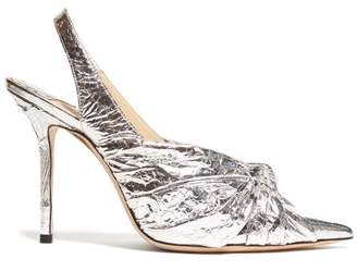 Jimmy Choo Annabelle 85 Knotted Leather Pumps - Womens - Silver