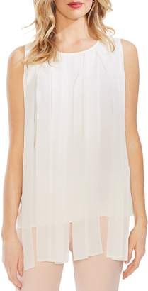 Vince Camuto Pleated Overlay Mixed Media Top
