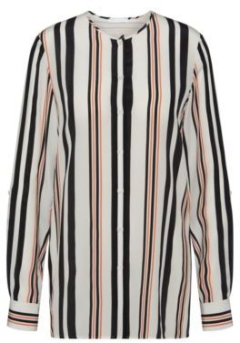 Hugo Boss Relliana Silk Striped Blouse 2 Patterned $385 thestylecure.com