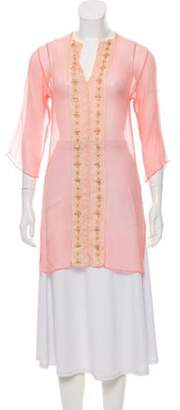 Miguelina Embroidered Silk Sheer Tunic Embroidered Silk Sheer Tunic
