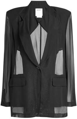 DKNY Blazer Blouse with Sheer Inserts