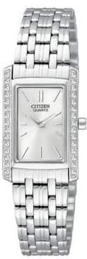 Analog Citizen Quartz Collection Crystal-Accent Rectangular Stainless Steel Bracelet Watch