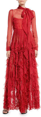 Valentino Long-Sleeve Tie-Neck Polka-Dot Ruffled Chiffon Evening Gown