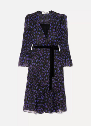 Diane von Furstenberg Ani Printed Velvet-trimmed Crinkled Silk-chiffon And Seersucker Wrap Dress - Black
