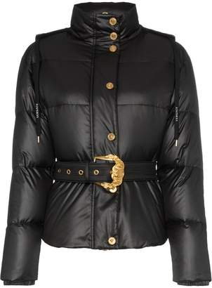 Versace hooded belted feather down puffer jacket