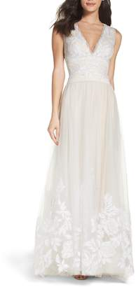 Tadashi Shoji Tulle Lace A-Line Gown