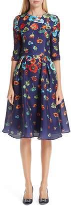 Carolina Herrera Floral Print Silk A-Line Dress