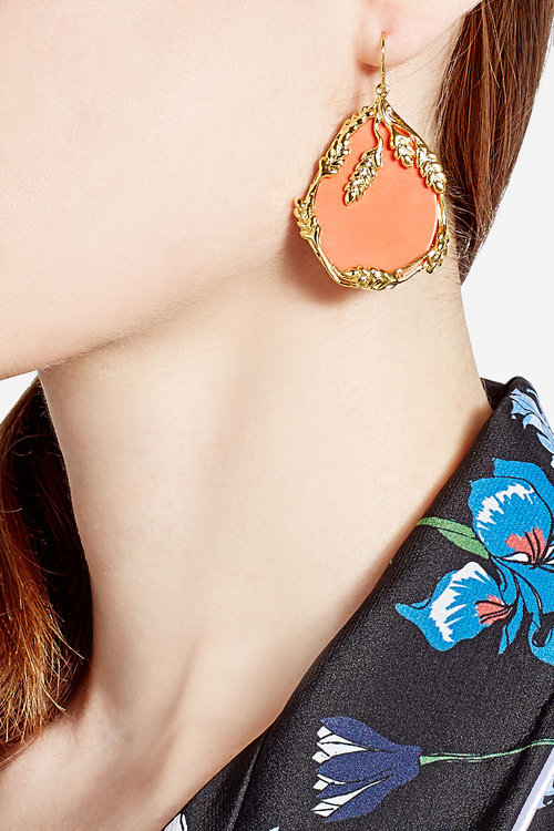 Aurelie Bidermann Aurélie Bidermann 18kt Yellow Gold Plated Earrings with Coral
