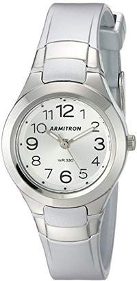 Armitron Sport Women's 25/6418SIL Easy to Read Dial -Tone Resin Strap Watch