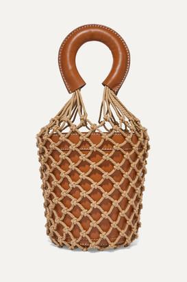 STAUD Moreau Leather And Macramé Bucket Bag - Tan