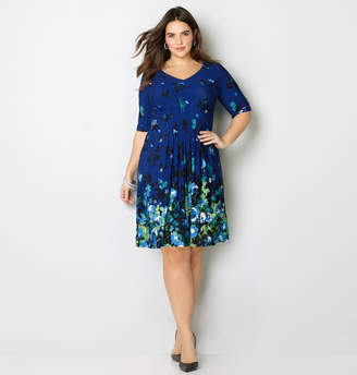 Avenue Floral Pleated Fit and Flare Dress