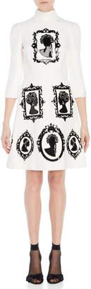 Dolce & Gabbana Vinyl Cameo Mock Neck Dress