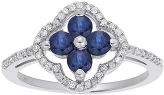 FINE JEWELRY 1/8 CT. T.W. Diamond and Genuine Sapphire 10K White Gold Flower Ring