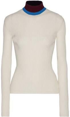 Calvin Klein Jeans Appliquéd Ribbed Wool-Blend Turtleneck Sweater