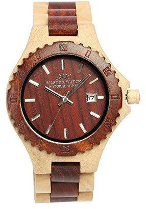 [マスターウォッチ] MASTER WATCH 天然木材 紅檀×白楓 腕時計 ウォッチ アナログ カレンダー コンビブラウン メンズ レディース