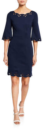 Trina Turk Delight Boat-Neck Half-Sleeve Scallop Dress with Eyelet Details