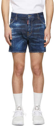 DSQUARED2 Blue Denim Yellow Ripped Spots Dan Commando Shorts