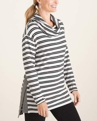 Zenergy Striped Side-Split Cowl-Neck Tunic
