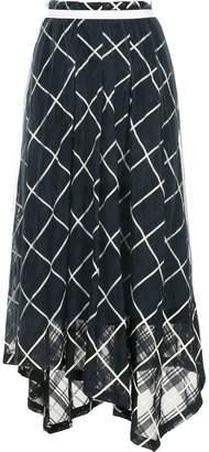 Aula check print tulle maxi skirt